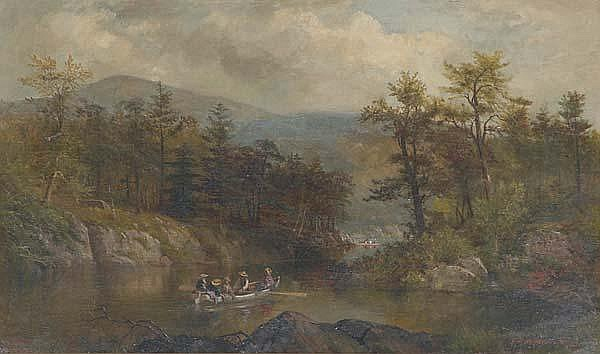 James Brade Sword (American, 1839-1915) The Narrows at Lake George, 1873; Oil on canvas (framed); Signed and dated; 18'' x 30''; Provenance: Private Collection, New Jersey