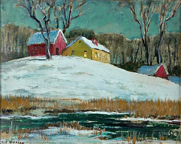 Harold Wolcott (American, 1898-1977) Barns in Snow; Oil on canvasboard (framed); Signed; 16'' x 20''; Provenance: Private Collection, New Jersey
