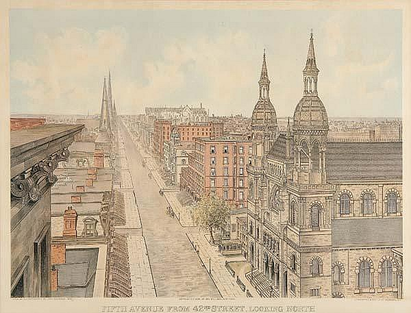 After John Bachmann (Swiss/American, 1814-1896) Two works of art: Fifth Avenue from 42nd Street Looking North, 1904 and Fifth Avenue from 42nd Street Looking South; 1904; Chromolithograph of photographs from 1879 (framed); Lithographed and printed by