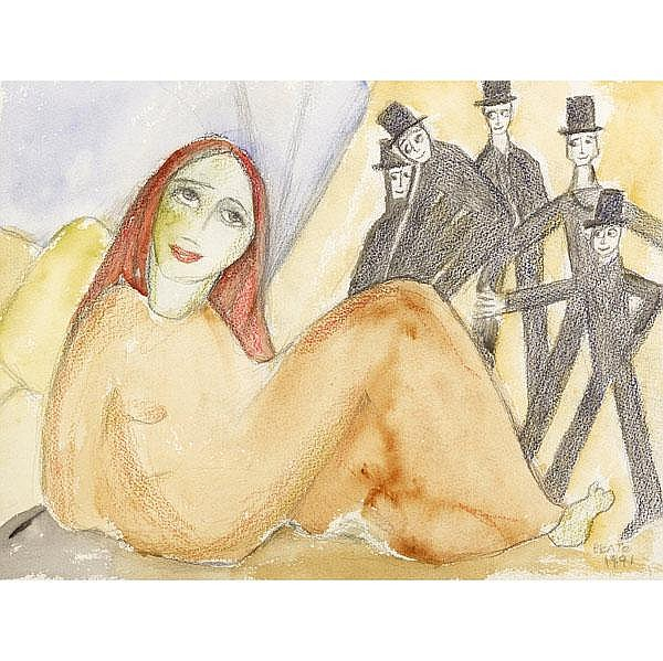 BEATRICE WOOD Untitled watercolor, graphite and
