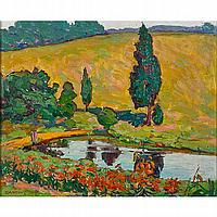 """Ida Wells Stroud (American, 1869-1944); A Hillside - Clara""""s Garden, ca. 1928; Oil on board (framed); Signed; 13 3/8"""" x 16 1/2"""" (sight); Provenance: Pedersen Gallery, New Jersey; Private Collection, New Jersey"""