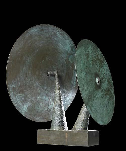 Harry Bertoia (American, 1915-1978) Double Gong, 1976; Silicon bronze (three parts); 9'6