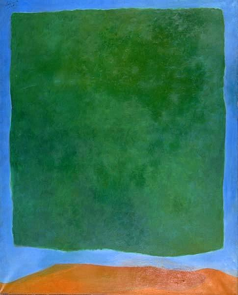 Rex Ashlock (American, 1919-1999) Green Field on Blue, 1965; Oil on canvas; Signed and dated; 60
