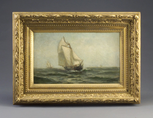 Oil on canvas of sailing vessel at sea, in ornate gilt wood frame. Signed Otis Weber (American, 19th C.) lower right. Lined, restored. 12