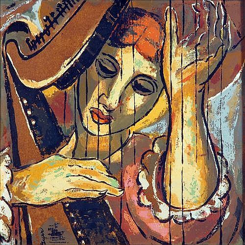 Lena Gurr (American 1897-1992) Harpist, oil on masonite, framed. Signed lower left. 12 1/4
