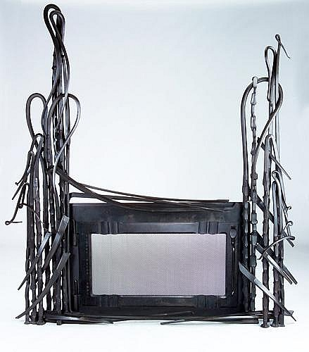 ALBERT PALEY Fireplace surround of forged milled steel with charcoal patina. (From the estate of Peter Joseph.) 86