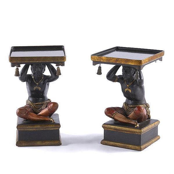 BLACKAMOOR TABLES Pair of decorative side tables
