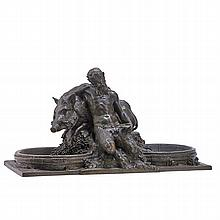 """AUGUSTE SEYSSES (French, 1862-1946); Bronze sculpture of a satyr with wild boar; Signed, A. Valsuani, Cire Perdue foundry mark; 13 1/2"""" x 24 3/4"""" x 12"""""""