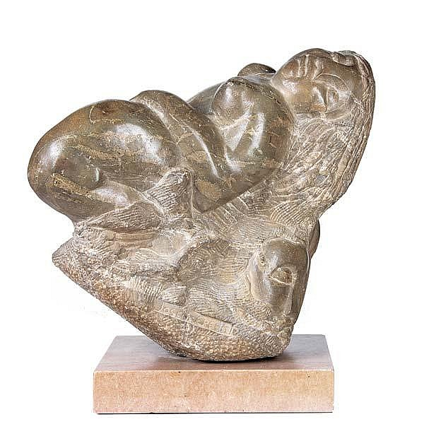 Jose De Creeft (Spanish/American, 1884-1982) Untitled (Reclining Nude); Stone; Signed