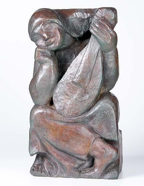 Enoch Henryck (Enrico) Glicenstein (Russian/American, 1870-1942) Untitled (The Play), ca. 1938; Bronze; Signed
