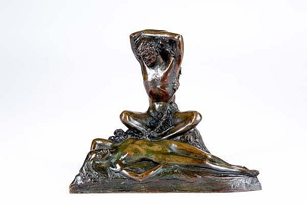 Anna Coleman Watts Ladd (American, 1878-1939) Untitled (Satyr and Sleeping Nude); Bronze; Signed