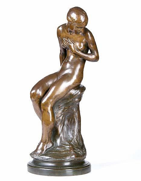 Isidore Konti (Austrian/American, 1862-1938) Surprise, 1912; Bronze; Signed