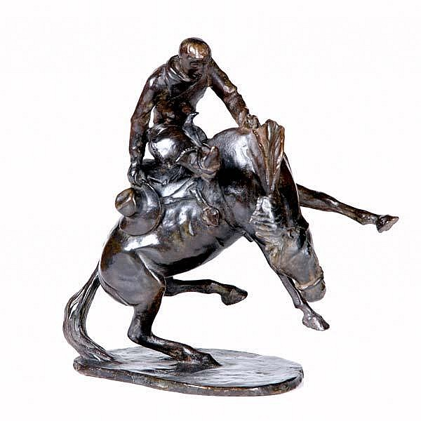 Joseph Jacinto Mora (Uruguayan/American, 1876-1947) Untitled (Bronco Rider), 1930; Bronze; Dated and signed