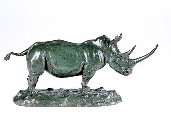 James Lippitt Clark (American, 1883-1957) Rhinoceros, 1927; Bronze; Signed and dated