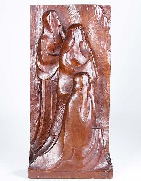 Warren Wheelock (American, 1880-1960) The Three Marys; Carved wood; Signed