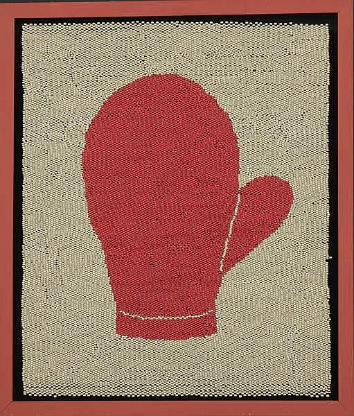 """Robert Adams (20th Century) Mittens, 1993; Safety matches mounted on board (framed); Signed, dated and titled; 18 1/2"""" x 15 1/4"""" (image); Provenance: Paul Morris Gallery, New York (label on verso); Private Collection"""