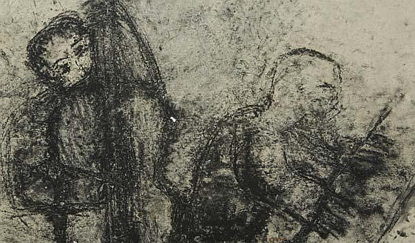 Michel Haas (German, b. 1934) Five works of art: The Lover Dancer, 1983; Charcoal on handmade paper; Dated and titled; 50