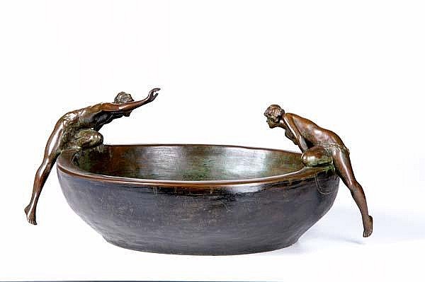 Clio Hinton Huneker Bracken (American, 1870-1925) Untitled (Bowl with Two Nudes); Bronze; Signed