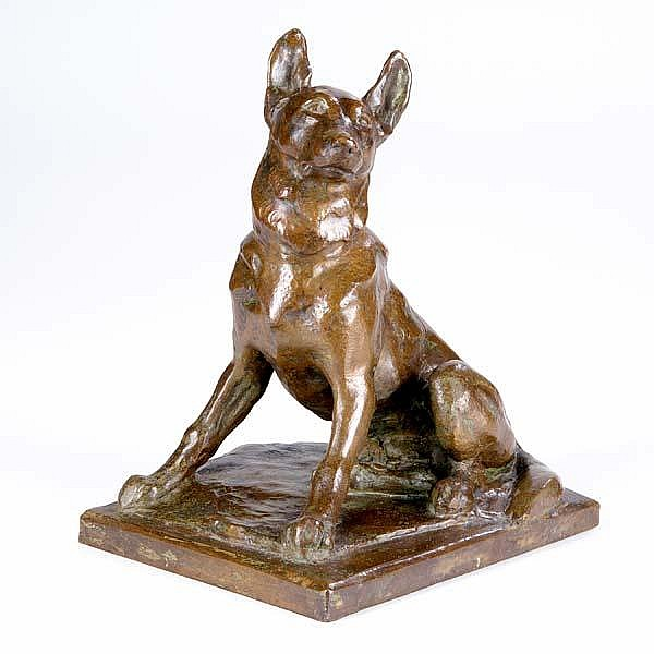 Hazel Brill Jackson (American, 1894-1991) Drago; Bronze; Initialed with artist's device and with foundry mark