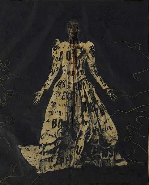 Lesley Dill (American, b. 1950) Poem Wedding Dress, 1995; Monotype; 56