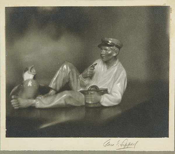 Clara Estelle Sipprell (Canadian/American, 1885-1975) Glass Boy and Bird, 1930s; Gelatin silver print; Signed; 7 1/2