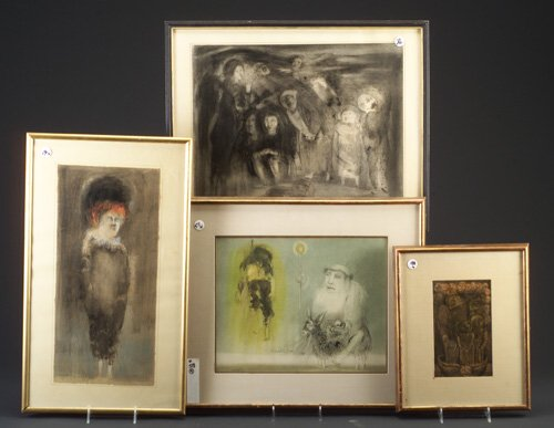 Four mixed media drawings signed Manuel Ayaso (Spanish b. 1934),
