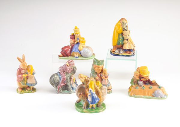 EDRIS ECKHARDT Seven earthenware figures in polychrome glaze depicting scenes from