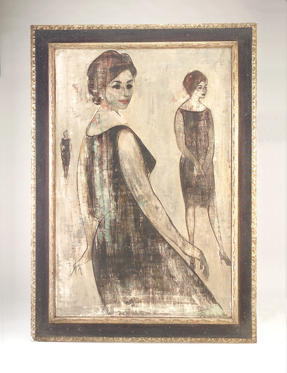 Tom Bostelle; Portrait of Lois; 1961; oil on Masonite; 40 x 26 1/2 inches; signed and dated lower center recto