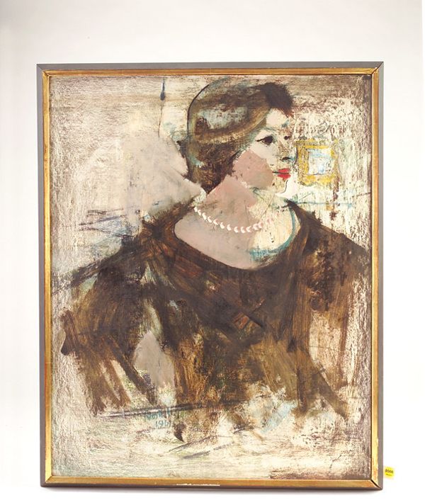 Tom Bostelle; Untitled; 1961; oil and charcoal on Masonite; 30 1/4 x 24 1/4; signed and dated lower center recto