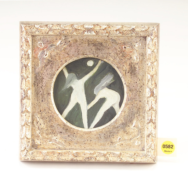 Selina Trieff; Moonlight Dancers; oil on canvas; 3 3/4 inches diameter; framed (7 3/4 x 7 3/4 inches); Provenance: the artist