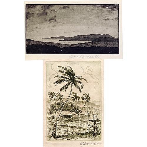 Five Hawaiian landscapes, small etchings: two by Ray Burnell (American 1877-1962), and three by Coy Avon Seward (American 1884-1939), one dated 1931; each approx. 4 1/2