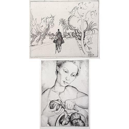 Two etchings: Luis Quintanilla (Spanish/American 1895-1978), Woman peeling Apples, 13 1/4