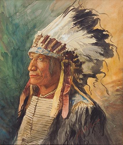Fernando A. Carter (American 1855-1931) Portrait of a Chief, Watercolor on paper, period oak frame, Signed F.A. Carter lower right. Sight 25