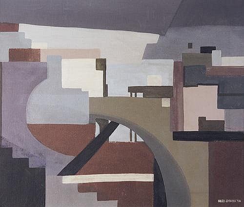 Niles Spencer (American 1893-1952) Precisionist Cityscape, 1950, Oil on canvas, framed, Signed and dated, lower right. Provenance: a Bucks County collector. 20