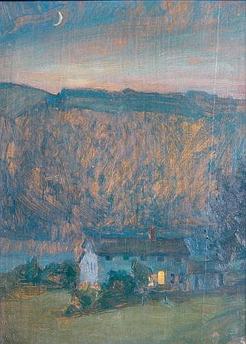 Alexander Oscar Levy (German/American, 1881-1947); Moonrise, Hemlock Lake, N.Y., 1918; Oil on panel (framed); Signed and dated; 14