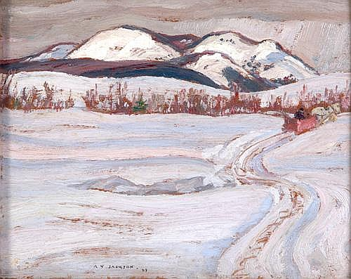 Alexander Young Jackson (Canadian, 1882-1974); The Winter Pond, 1929; Oil on wood panel (framed); Signed; 8 1/4