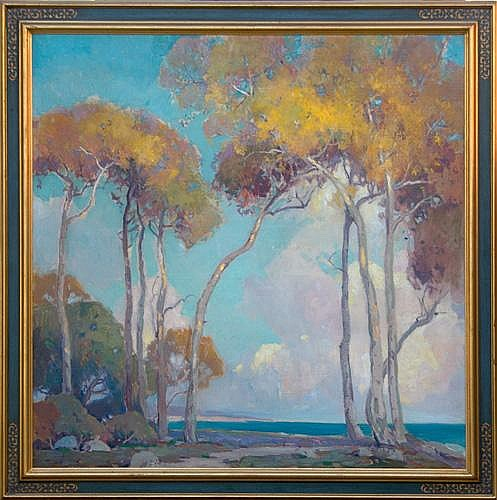 Orrin Augustine White (American, 1883-1969); Sycamores, Santa Barbara; Oil on canvas (framed); Signed; 46