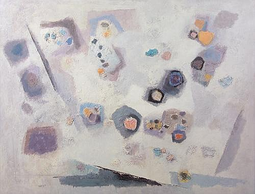 Richard Crist (American, 1906-1985); Movement on White, 1957; Oil on Masonite (framed); Signed and dated; 38