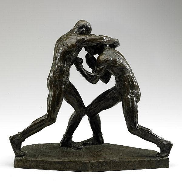 JOE BROWN (American, 1909-1985); Bronze of two