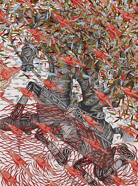 Andrew Schoultz (American, b. 1975) Untitled #2;