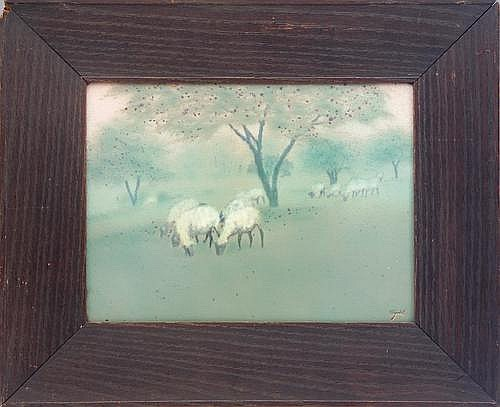 ROOKWOOD Large and unusual Scenic Vellum plaque painted by E.T. Hurley with sheep grazing under apple trees, 1914. In original Arts  &  Crafts frame, never removed. Flame mark/XIV/E.T.H. Plaque: 9