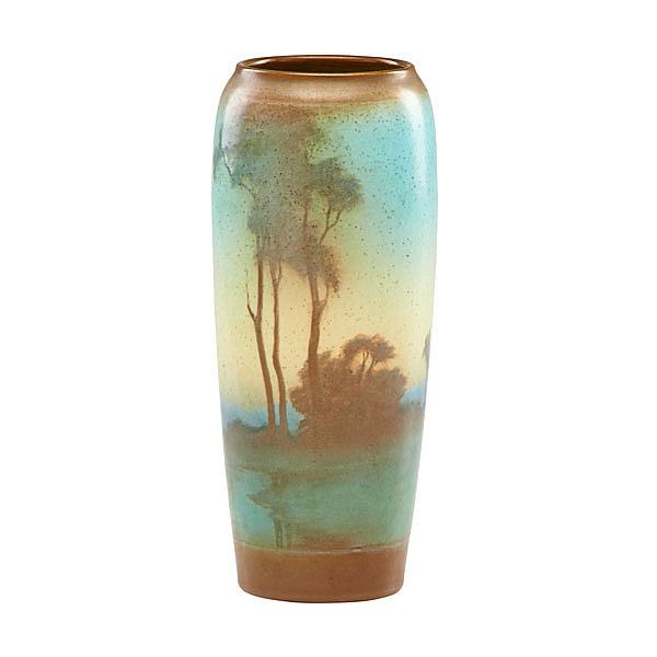LENORE ASBURY (1866 - 1933); ROOKWOOD; Scenic Vellum vase, Cincinnati, OH, 1916; Flame mark/XVI/95ID/5/L.A.; 9