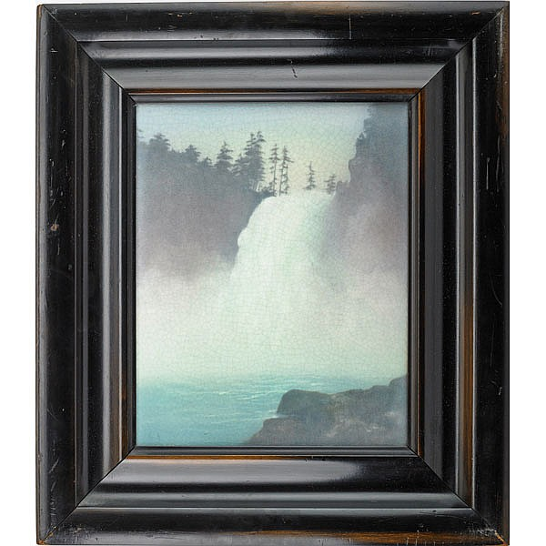 LENORE ASBURY (1866 - 1933); ROOKWOOD; Scenic Vellum plaque with waterfall,