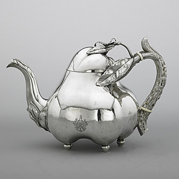 RUSSIAN SILVER FRUIT-FORM TEAPOT, 1854; Joseph