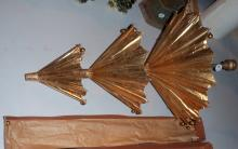 Early 3-Part Japanese Umbrella in Gold Guild with Glass Ornaments on Bottom Tips