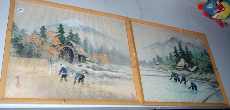 (2) Wartime Painted Scenes of Farmers Working, Mountains Scenes & Homes on Silk