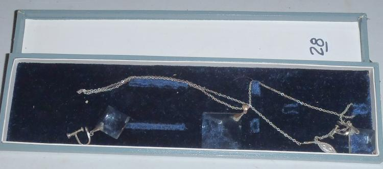 Early Japanese Crystal & Silver Necklace & Earring Set