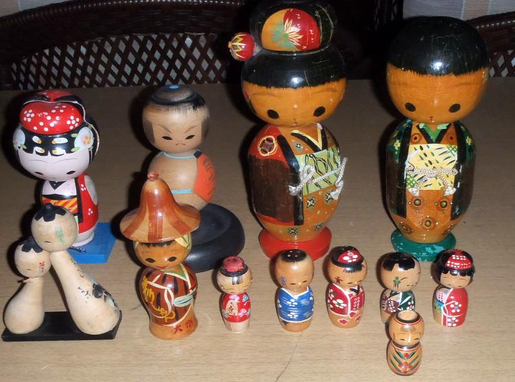 Group of (12) Japanese Bobble Heads or Figurines