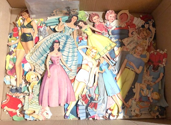 Large Group of 1940's Paper Dolls with Many Accessories & Clothes