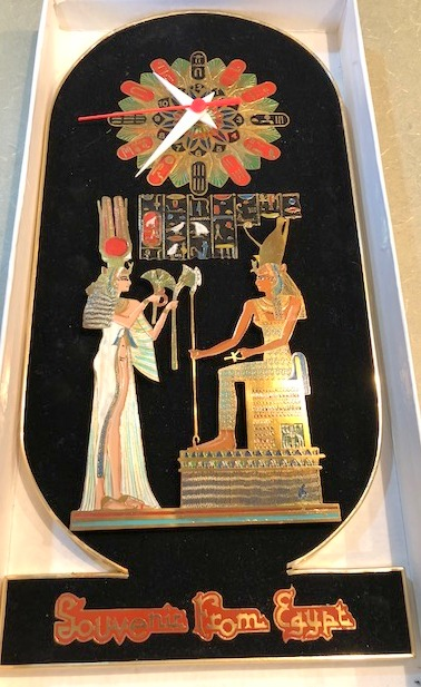 Souvenir Clock from Egypt with Pharoh and his Queen